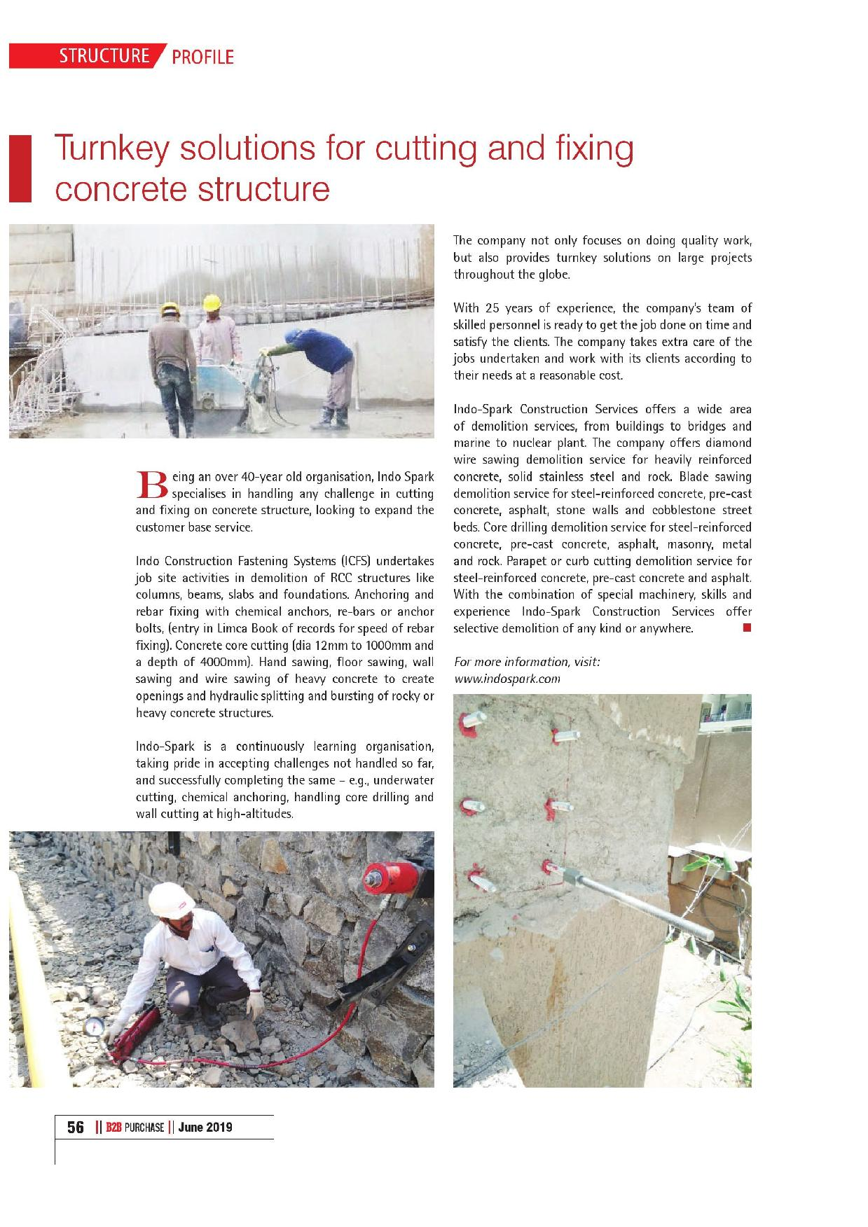 Turnkey solutions for cutting & fixing concrete structure