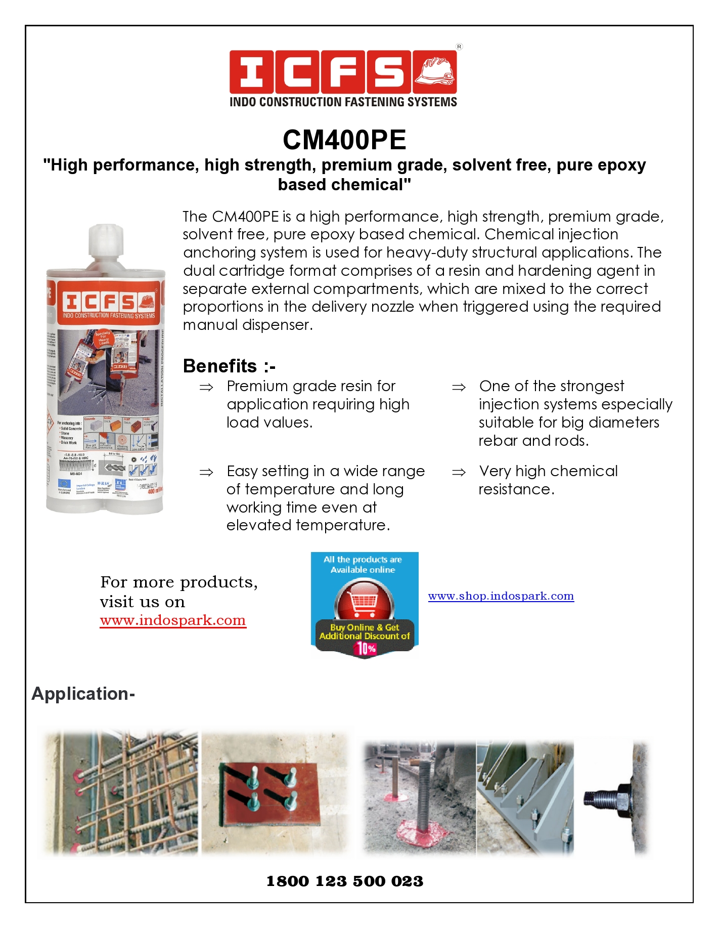 CM400PE_High performance, high strength, premium grade, solvent free, pure epoxy based chemical